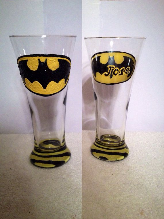 Batman Beer Pilsner Glass on Etsy, $12.50