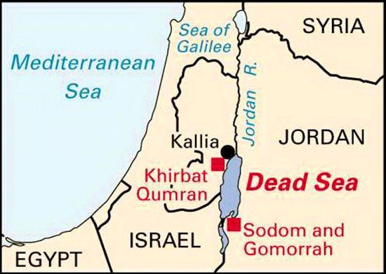 Map of the Dead Sea, Khirbat Qumran, and Sodom and Gomorrah
