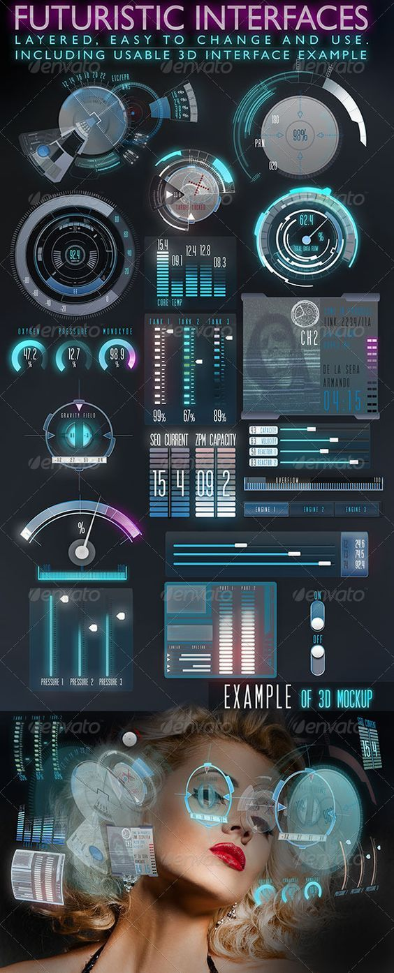 Futuristic Interface (HUD)  - User Interfaces Web Elements game user interface…: