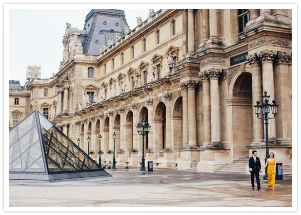 <3 the yellow dress!!! paris engagement session at the louvre ~Olivia Leigh Photographie