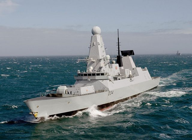 Royal Navy Type 45 destroyer HMS Diamond pictured during Exercise Joint Warrior near Scotland.