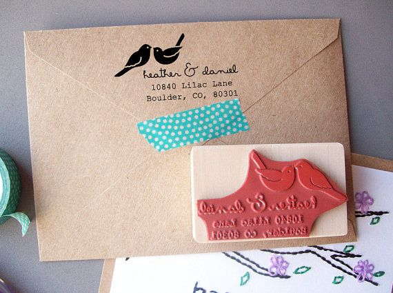 Custom Return Address Stamp with Love Birds, DIY Weddings, Invitations, Save the Dates, Housewarming