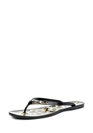 Эффектные и удобные сланцы от Baldinini. Обувь черного цвета выполнена из резины. Особенности: гибкая подошва, внутренняя сторона оформлена леопардовым принтом, декор в виде бантика спереди. http://j.mp/1ryBbcD