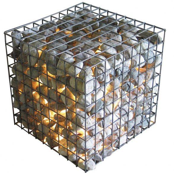 Create Ambience With Glowing Cube Table or Seat / świecący wewnątrz gabion jako element dekoracyjny