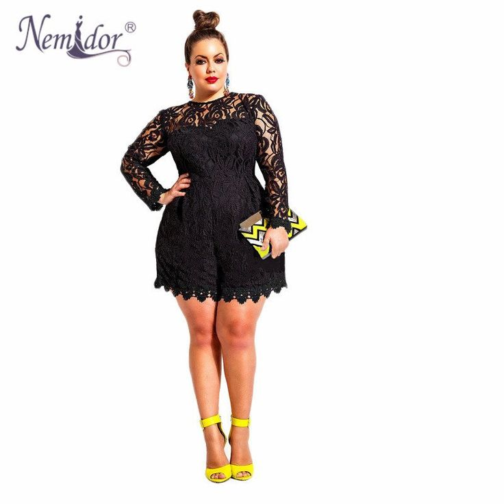NEW ARRIVIAL Nemidor New Fashion Women Black Romper Long Sleeve Plus Size Jumpsuits Lace Hollow Out Jumpsuit
