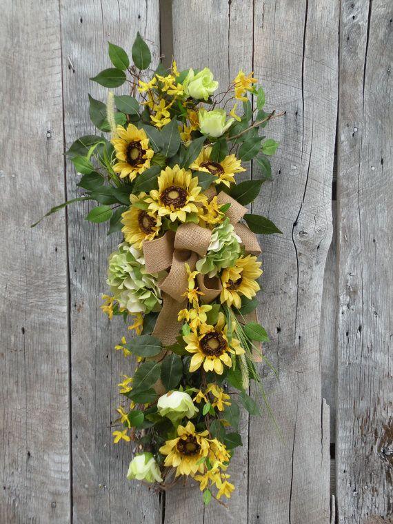 Merveilleux Front Door Crescent Front Door Swag Sunflower By KathysWreathShop, $69.99 |  SPRING/SUMMER | Door Swag, Burlap Swag, Door Wreaths