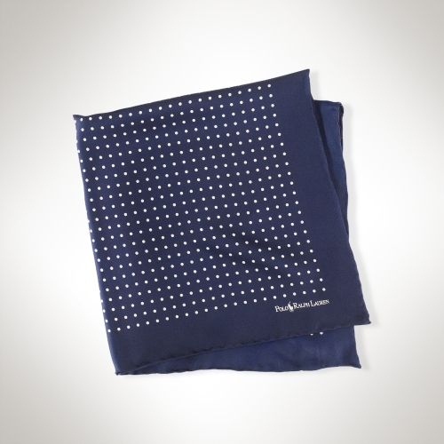 $95, Navy Polka Dot Silk Pocket Square: Polo Ralph Lauren Polka Dot Silk Pocket Square. Sold by Ralph Lauren. Click for more info: https://lookastic.com/men/shop_items/2187/redirect
