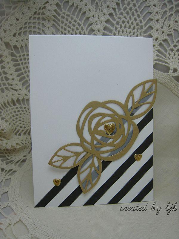 Gold Bloom Card by Betty Keefe using our #EssentialsbyEllen Bold Blooms dies. #BoldBlooms #ellenhutsonllc #PinSightsChallenge