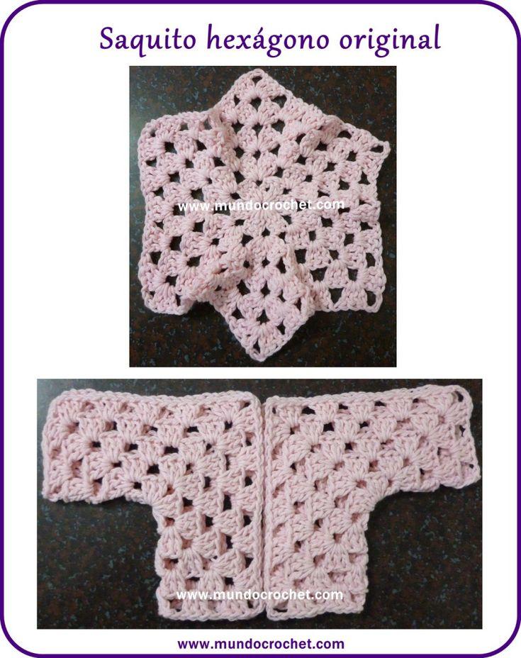 Saquito a crochet para bebé tejido con 2 hexágonos: Cómo modificar el talle