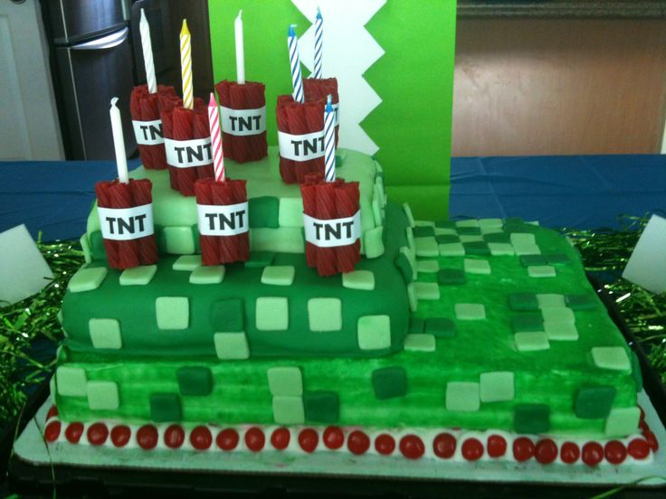 Minecraft cake with TNT candles  @Travis Vachon Atkinson What do you think about something like this for Cayden??