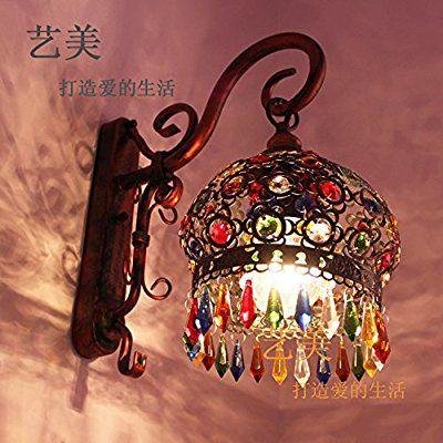 Bohemian Garden/Eastern Mediterranean Bedside Lamp Bedroom Living Room Chandelier Wrought Iron Wall Mirror Lights Mirror Lights