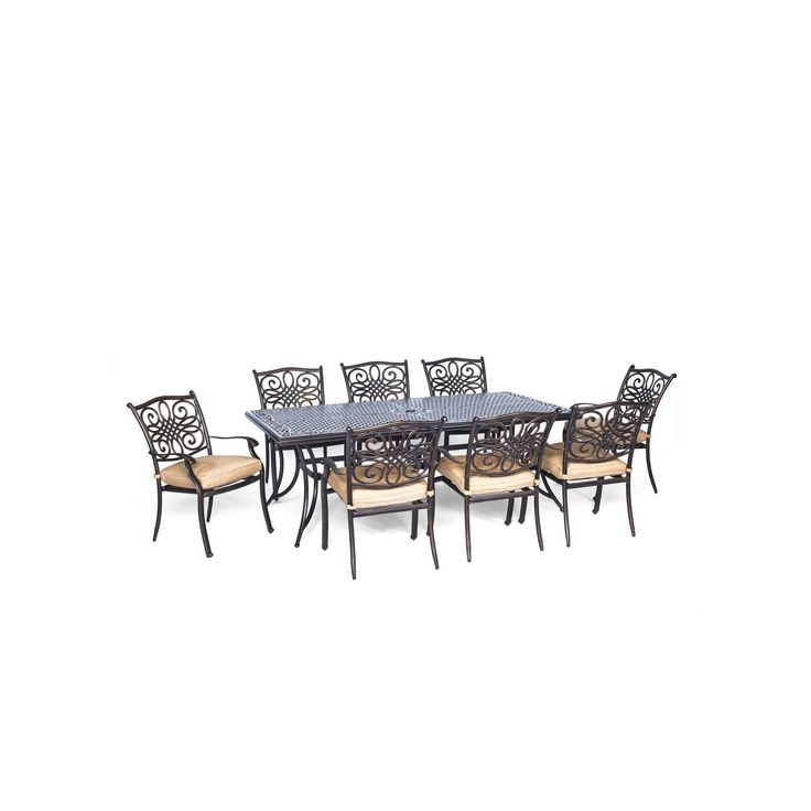 Hanover Traditions 9-Piece Dining Set with Eight Stationary Dining Chairs and an Extra Long Dining Table, Light Off-White