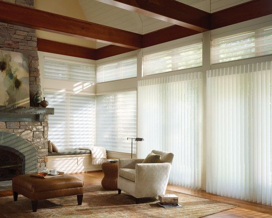 : Adorable Eclectic Patio Door Coverings Also Contemporary White Padded Armchair Also Brown Padded Coffee Table Also Brown Laminate Floor And Stone Fireplace