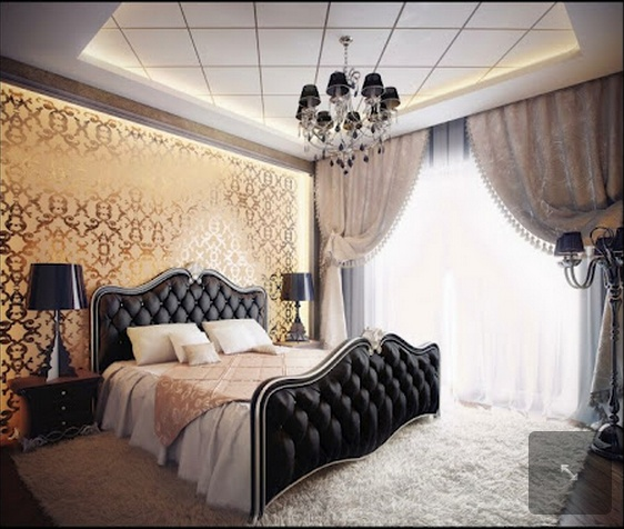 Stunning bedroom - combination of black tufted upholstery, golden wallpaper and white shag! Click through for 2 more luxury looks for your bedroom! Visit our site for our Shag Collection. http://pinterest.com/pin/285556432594361855/: Interior Design, Decor, Dream House, Dream Room, Wallpaper, Bed Frame, Master Bedrooms, Bedroom Designs, Bedroom Ideas