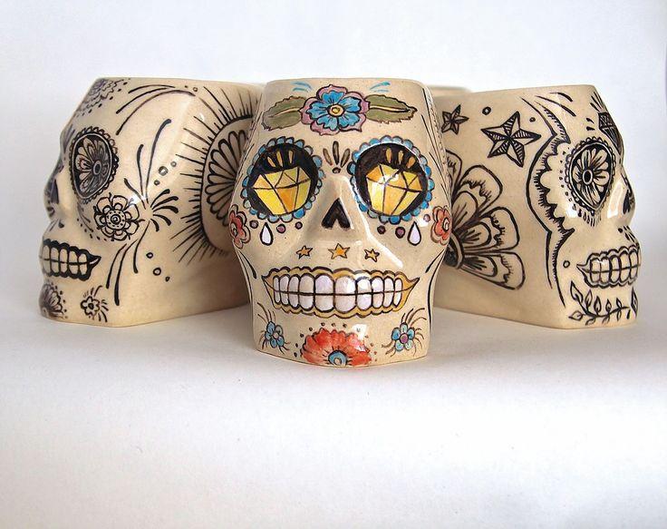 Tiki mugs - Calaveras by Benusha. Hand-made, hand-painted ceramics. Kubki Tiki od Benusha, ręcznie malowana ceramika. sugar scull, ceramic mugs, pottery mugs