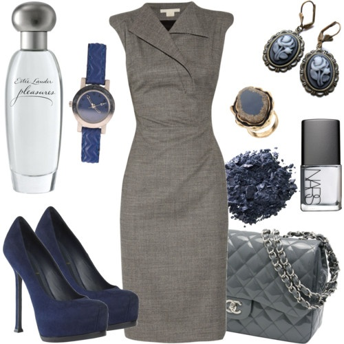 gray and navy: Shoes, Colors Combos, Fashion, Style, Clothing, Work Outfits, The Dresses, The Navy, Grey Dresses