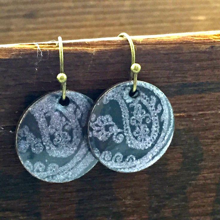 Black Copper Penny Enameled Earrings, Torch Fired Enamel Jewelry, Coin Jewelry, Penny Earrings, gift for mom, sister,friend by kyleemaedesigns on Etsy
