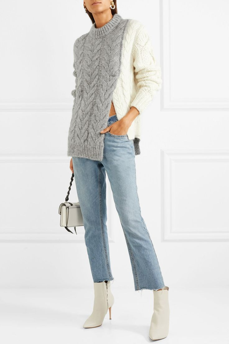 Moncler   Two-tone cable-knit sweater   NET-A-PORTER.COM