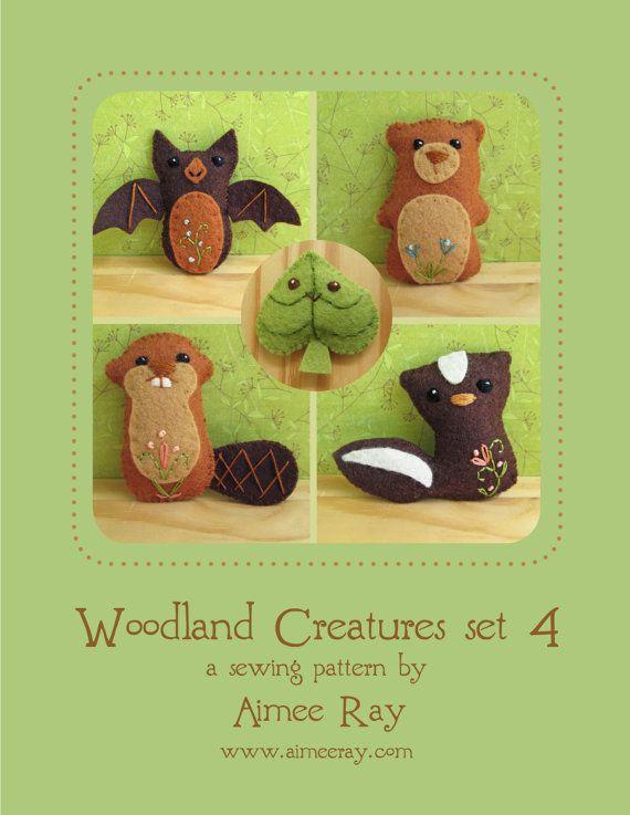 Mini Felt Woodland Creatures plush Set 4 PDF sewing by littledear