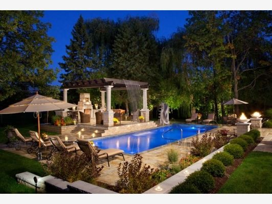 Living Room, Backyard Landscaping  Home and Garden Design Ideas