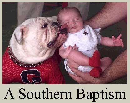 A Southern Baptism....I have a picture like this of each of our little boys. In all white of course with a lab and no Georgia! :)