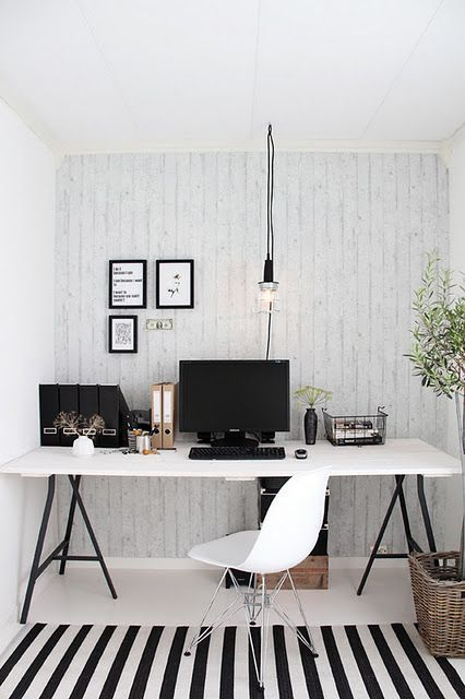 Simple is still stylish, try a textured wallpaper and the cool striped rug such as a Pappelina rug and some greenery, makes for the perfect light filled office space. For a simpler rug check these out http://bit.ly/2wTpX8L: designlibrary.com.au