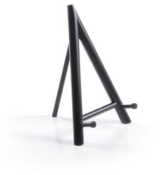 Black A-Frame Table Top Easel - Wooden Display.  Featuring nonskid rubber feet, this small table top easel is one of our finest handmade wood easels. It's perfect for displaying family pictures, small paintings or your favorite arts and crafts.
