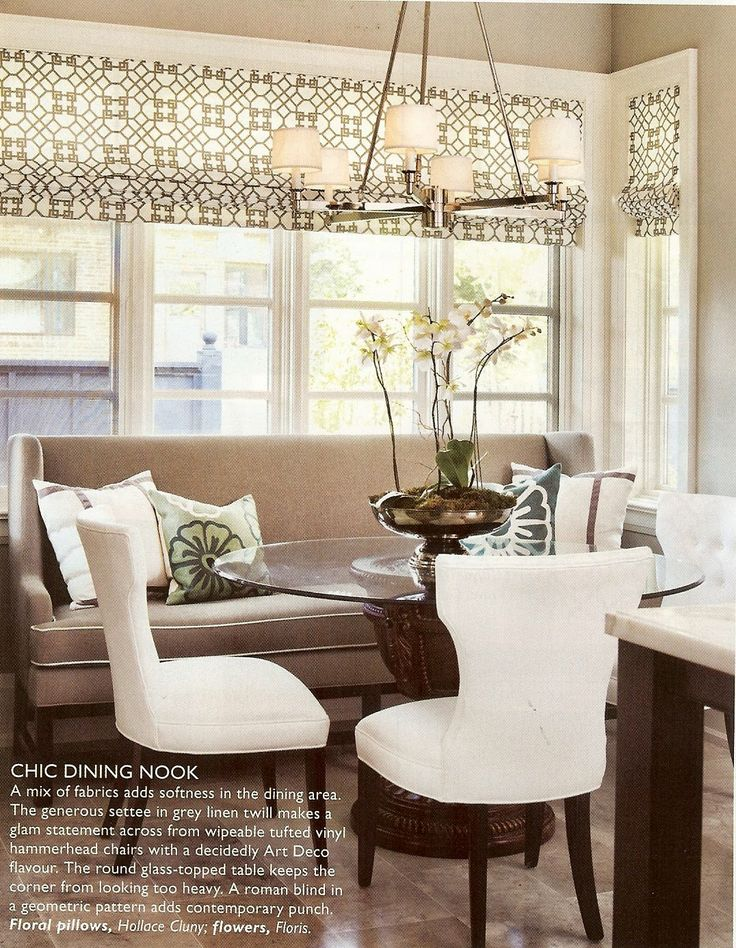 Love!  Could do this in my kitchen by making a DIY roman shade, spray painting chairs white and adding the un-used bench from our entry with pretty pillows.