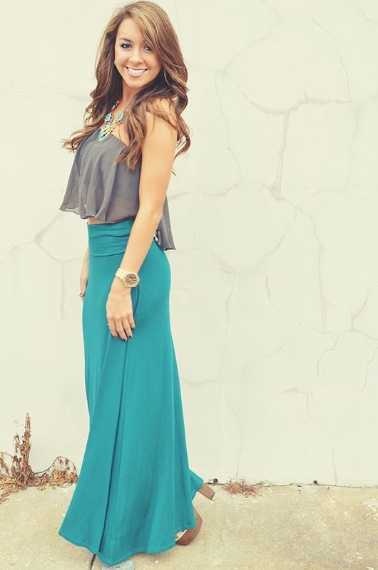 Best 25  Teal maxi skirts ideas only on Pinterest | Long skirt ...