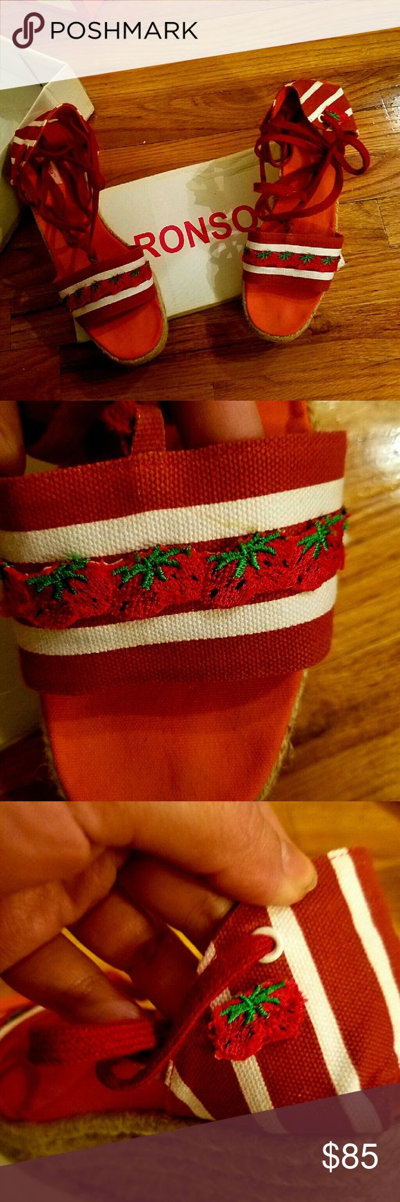 Charlotte Ronson Strawberry Espadrilles, Size 9 These espadrilles are adorable and rare - impossible to find!  They have been lightly used, and in excellent condition.  Vibrant red/white stripes with cute little strawberry detailing across the top, and on the back.  Bright red strings lace up the shies, and straw jute 3 inch wedge heel.  Perfect shoes for a fashion junkie! Charlotte Ronson Shoes Espadrilles