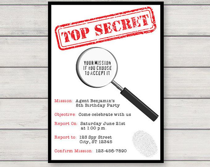Spy Birthday Party Invitation Decoration Printable Secret Etsy Spy Birthday Parties Secret Agent Party Spy Party