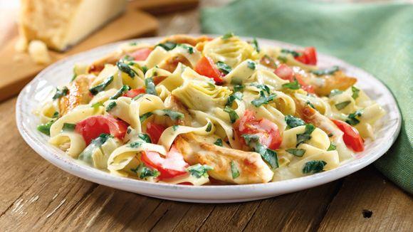 Artichoke Asiago Chicken Pasta Recipe Skillets