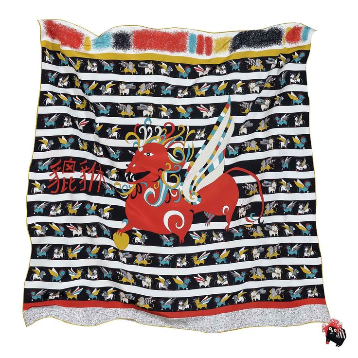 """Rumisu - Pixiu print  silk scarf from """"Marching with Myths"""" collection, exclusive Istanbul color variation"""