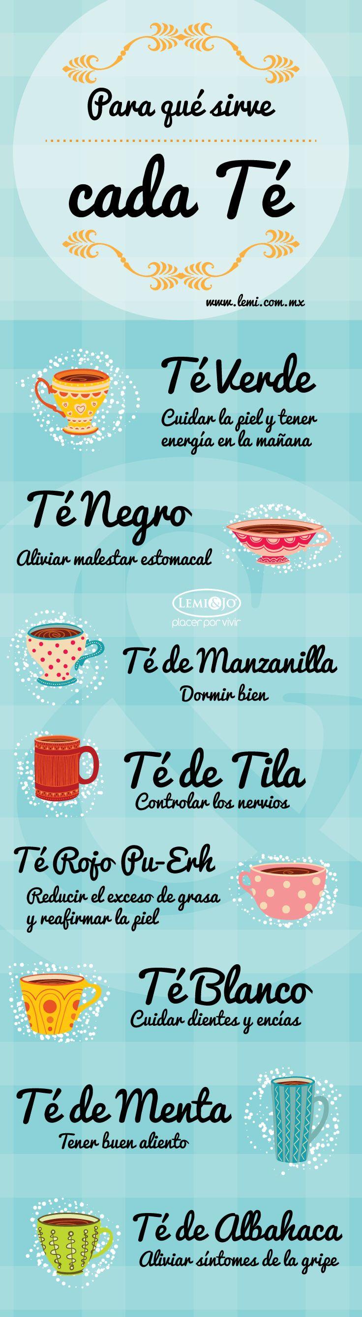Infografía: ¿Para qué sirve cada Té? #infografia #salud #bienestar