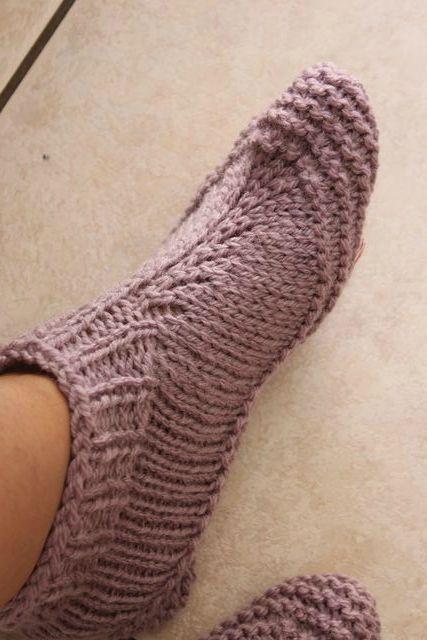 Comment tricoter des chaussons adultes modele bergere de france