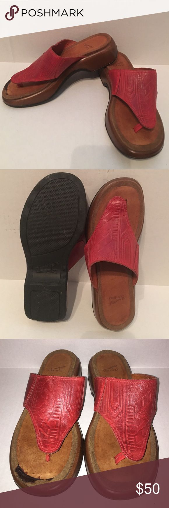🚨sale🚨Dansko sandals 40 Pre owned Dansko sandals in great shape! The leather is tooled! The soles are in great shape! The right shoe does have a dark stain from glue as seen in the pictures. Size 40.  Smoke and pet free house 🚨sale ends at midnight Dansko Shoes Sandals