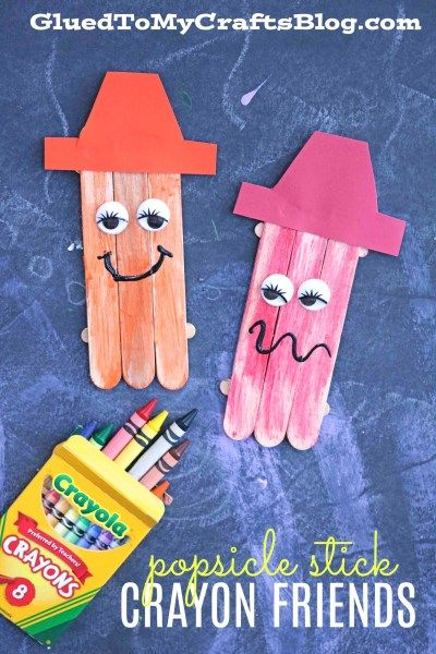 Popsicle Stick Crayon Friends - Back-To-School Kid Craft Idea