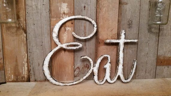 Rustic EAT sign shabby chic white wall hanging by ThePinkToolBox
