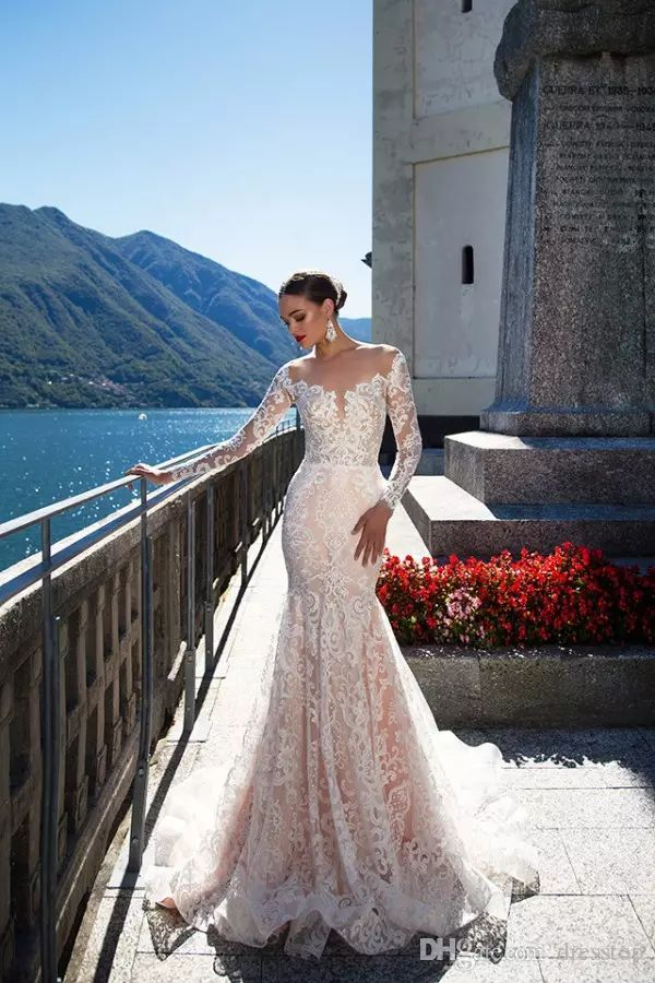 Milla Nova Backless Wedding Dresses With Long Sleeves Mermaid Sheer Plunging Neck Trumpet Bridal Gowns Sweep Train Tulle Lace Wedding Dress Sexy Lace Wedding Dress Wedding Dress Ball Gown From Dresstop, $157.89| DHgate.Com