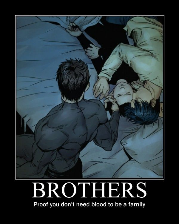 awww! Nightwing napping down with his adopted brother Damian, while Batman caresses Damian's cheek!