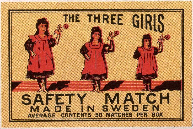 The Three Girls #Sweden #tulitikkuetiketit #etiketit #matchbox #labels