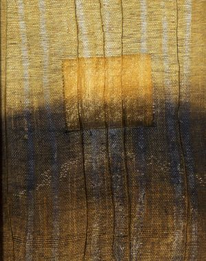 "Karen Henderson, ""Persistent Flicker"" Hand woven raw silk and paper, batik, dye & discharge, stitching, and gold leaf. 22"" x 17"": Fibre Art, Paper Art, Textiles Art, Art Fib, Artists Karen, Art Textiles Needlework, Fiber Artists, Textile Art, Arts Textiles Needlework"