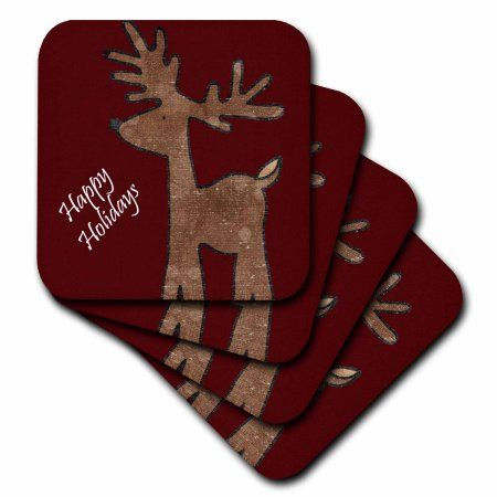 3dRose Happy Holidays Reindeer - Fun Whimsical Christmas Art, Soft Coasters, set of 8