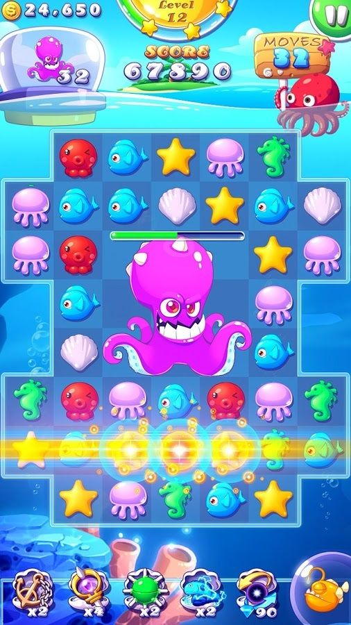 豆丶子采集到UI—游戏宣传图专区(383图)_花瓣UI/UX | Ocean Mania #ui#game #puzzle #design