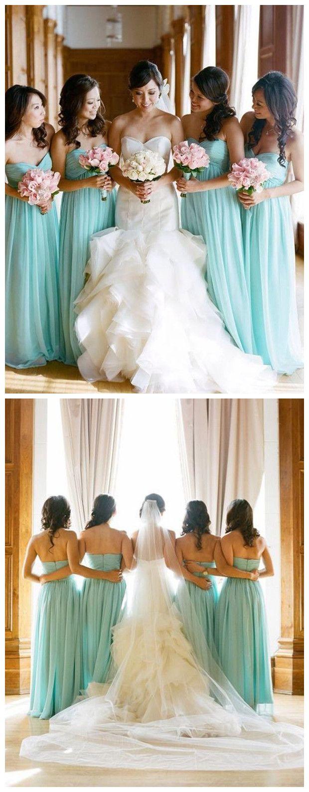 Zeitlos A-linie Herzform Ausschnitt Bodenlangen Blau Brautjungfernkleid mit Rüschen