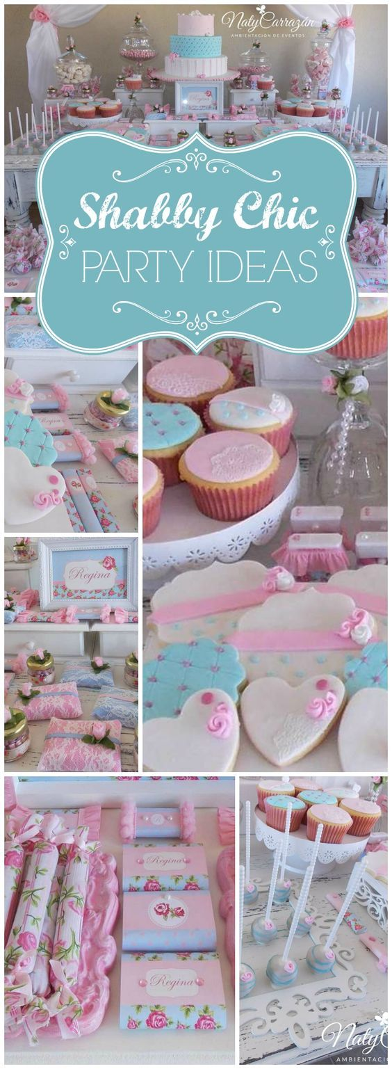 Love the pretty details at a pink and blue shabby chic party! See more party ideas at CatchMyParty.com!