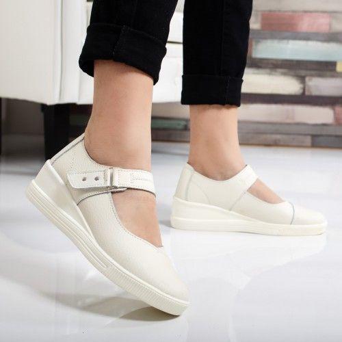 Pantofi dama Piele Lamara albi cu talpa ortopedica