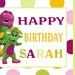 """Barney & Friends -Polka dot- Personalized Custom Birthday Banner with a """"free"""" printable DIY Thank You Note. $29.95, via Etsy."""