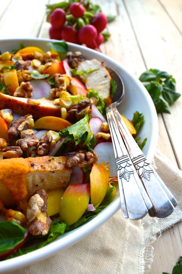 Nectarine Salad with Seared Chicken & Carrot Ginger Dressing
