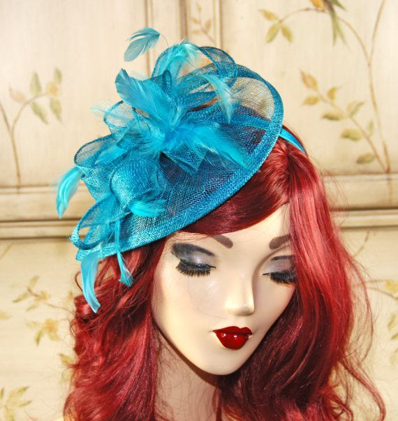 Teal Green Fascinator Hat Blue Green Kentucky by MadameMerrywidow